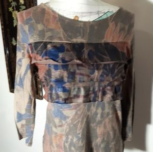 Floral Layered Stretch CUBISM top size S